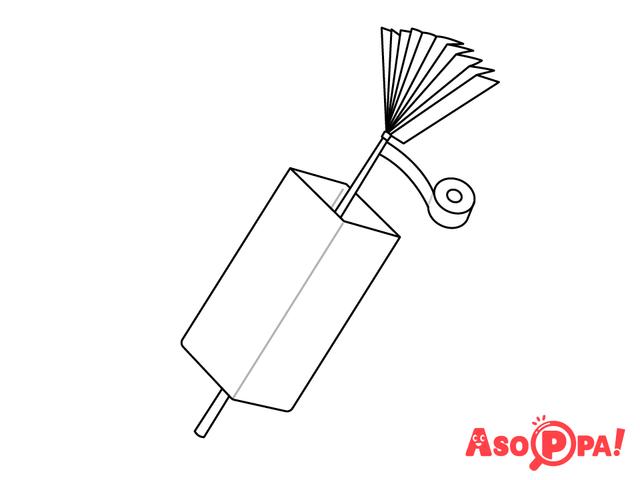 作り方(6)竹ひごを牛乳パックにはめる,牛乳パック,工作,簡単