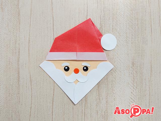 サンタクロースの顔,クリスマス,折り紙,