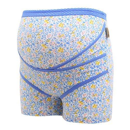 犬印 INUJIRUSHI フラワープリント クロスサポートらくばきパンツ 妊婦帯(BU-ブルー、M),腹帯,妊婦,人気