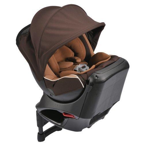 カーメイト エールベベ クルットNT2プラウド 新生児から4歳用チャイルドシート(サンシェード付360度回転型) シナモンブラウン,チャイルドシート,新生児,