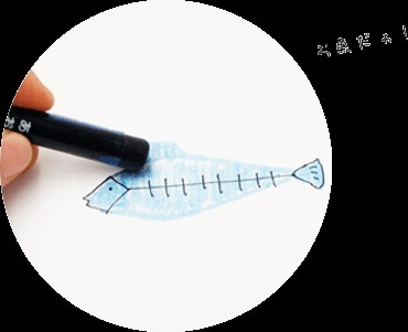 魚の絵とクレヨン,透明,クレヨン,使い方