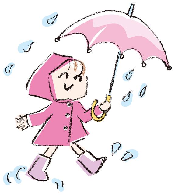 傘と子どものイラスト,透明,クレヨン,使い方
