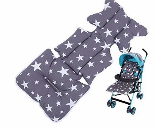 Paraizo ベビーカーシート クッション エアバギー ベビーカークッション 出産祝い 新生児 お出かけ プレゼント (グレー スター),ベビーカー,シート,