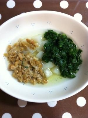 《離乳食後期》ほうれん草と納豆と麩の煮物♥,離乳食,麩,