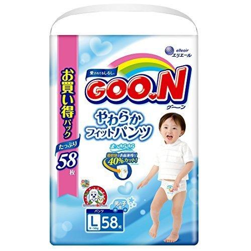 グーン(GOO.N) やわらかフィットパンツ Lサイズ (9~14kg) 58枚 男の子,おむつ,Lサイズ,