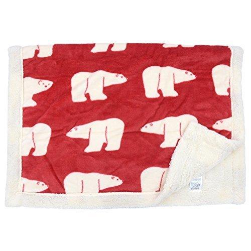 ブランケット ひざ掛け 毛布 裏ボア 裏起毛 ふわふわ 白熊柄 5色 70×100cm (red),スリーパー,手作り,