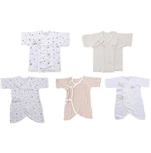 Skip House(スキップハウス) オーガニックコットン ベビー新生児 豪華5枚組 肌着セット 【ハチ柄】(コンビ肌着 3枚& 短肌着 2枚) 子供服 有機栽培綿100% 出産祝い,オーガニックコットン,新生児,肌着