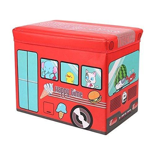 Sasuga 座れる ストレージ ボックス [ 動物園バス ] 折りたためる 収納ボックス スツール ふた付き おもちゃ箱 トイボックス (レッド),赤ちゃん用品,収納,