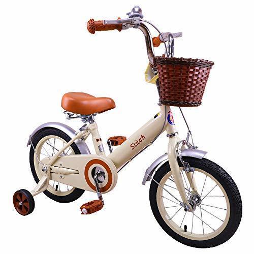 STITCH 子供自転車 女の子 3、4、5、6歳 16インチ 補助輪付き 幼児用自転車 クリスマス お誕生日プレゼント レトロ可愛い イギリス風 プリンセス ガールズ 森のお姫様 ベル かご付き クリーム,クリスマス,プレゼント,2019