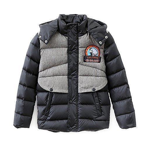 (ハイハート)Hiheart 子供 ダウンジャケット 男の子 コート アウトドア 子供服 ブラック 120cm,キッズ,ダウン,