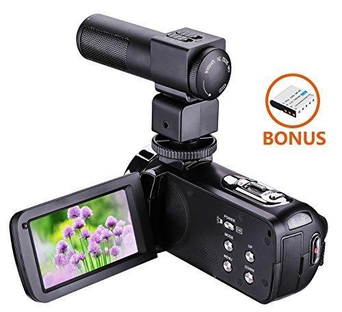 ZHILY フルハイビジョンビデオカメラ デジタルHDビデオカメラ 2400万画素 1080P 16倍デジタルズーム 3.0インチLED液晶スクリーン SDカード(最大32GB) 270度回転ナイト・ビジョン機能 リモート-コントロール ビデオカメラ用外部マイク付き,デジタル,ビデオ,カメラ