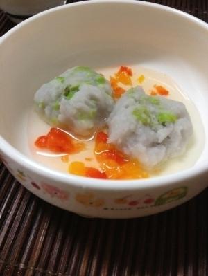 離乳食☆里芋と枝豆のお団子スープ,離乳食,枝豆,