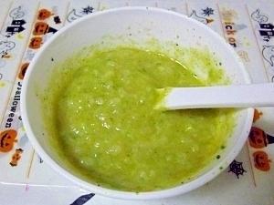 離乳食初期◎小松菜とキャベツのミルクがゆ,離乳食,進め方,