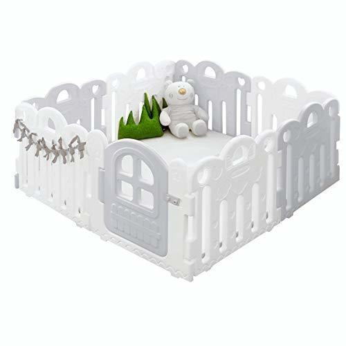ALZIP ベビーサークル ベビーゲート 扉付き ALZIP Baby room アルジップマット 赤ちゃん 子供 用 (グレー, 8枚(147×147×60cm)),ベビーサークル,