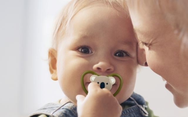 コアラデザインのおしゃぶりをしゃぶる赤ちゃん,