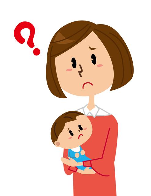 疑問を感じる母子のイメージ,赤ちゃん,乳児湿疹,