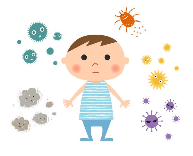 子どもとアレルギー物質イメージイラスト,子供,結膜炎,