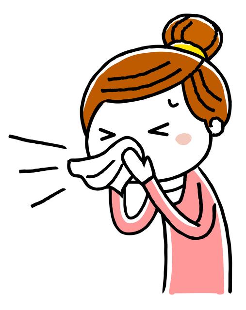 くしゃみをする女性のイラスト,妊娠初期,くしゃみ,