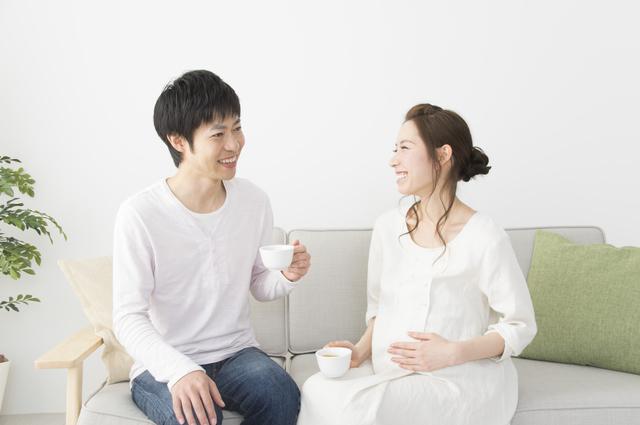 仲良く話す妊婦さんと夫,妊娠,17,週
