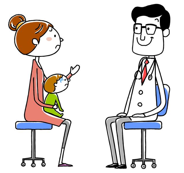 医師診断親子,赤ちゃん,インフルエンザ,