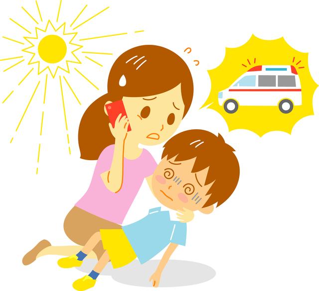 熱中症救急車呼ぶイメージ,子供,熱中症,
