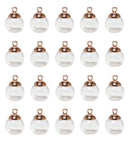 ADEA ガラスドーム キャップ付 ピアス チャーム レジン ホビー用 パーツ 20個セット (12mm, ピンクゴールド),イヤリング,作り方,
