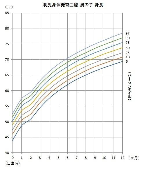 男の子の身体発育曲線(身長)のグラフ,赤ちゃん,