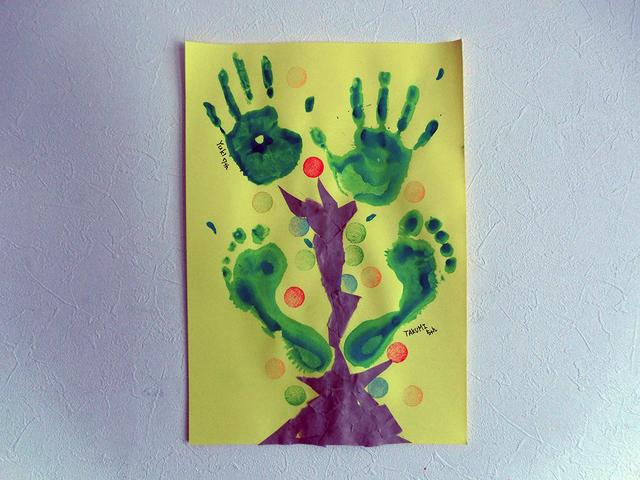 ツリー 足形 手形 アート,手形,足形,アート