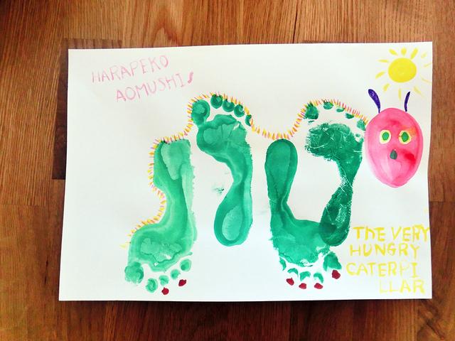 はらぺこあおむし 手形 足形アート,手形,足形,アート