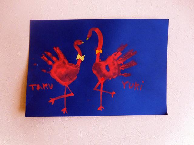 フラミンゴ 手形 足形アート,手形,足形,アート