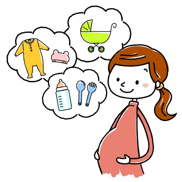赤ちゃんグッズを想像する妊婦のイラスト,出産前,準備,