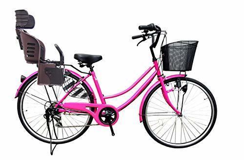 Lupinusルピナス 自転車 26インチ LP-266UD-KNRJ-BR 軽快車 シマノ外装6段ギア ダイナモライト 樹脂製後子乗せブラウン (ネオンピンク),子ども乗せ自転車,電動なし,