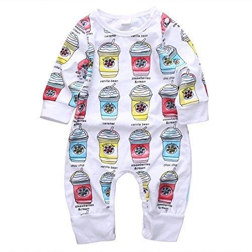 幼児服 男の子 女の子 ジャンプスーツ 長袖 アイスクリーム柄 (90(12-18ヶ月)),子供服,90,