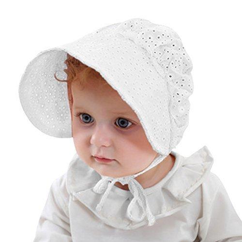 ベビー 帽子 赤ちゃん用ハット キャップ つば広 3-18カ月 綿 メッシュ 通気性 レース 可愛い ひも付き UV対策 日焼け防止 新生児 女の子 お出掛け お宮参り 出産お祝い 春夏 ホワイト,新生児,帽子,