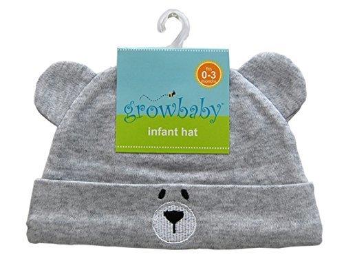 growbaby Infant Hat 新生児用(0~3カ月) 帽子 ジャージー地綿100%,クマさん帽子 グレー 23526,新生児,帽子,