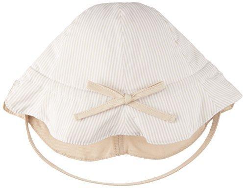 ひもがはずせるリバーシブルピケハットUV ベージュ×ベージュストライプ S,新生児,帽子,