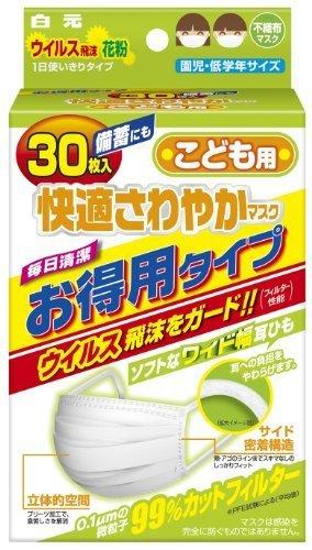 (PM2.5対応)サニーク 快適さわやかマスク 子供用 30枚入,子供用,マスク,