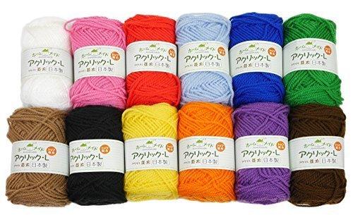 ハマナカ 毛糸セット ホームメイドアクリック 各40g 12玉セット,簡単,マフラー,指あみ