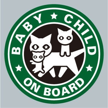BABY / CHILD ネコ親子緑色 ステッカー,ベビーインカー,