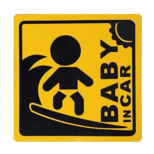 BABY IN CAR 赤ちゃん乗車中 マグネット 外貼り ステッカー12cm 黄色 サーフィン,ベビーインカー,