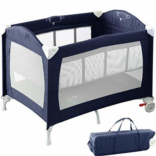 RiZKiZ ベビーサークル/プレイヤード バシネット付き ネイビーブルー 2WAY 4面メッシュ キャスター 折りたたみ 収納 赤ちゃん おむつ台 ベッド フェンス,双子育児,