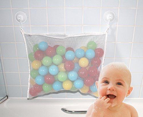 Angelcare おもちゃ収納袋 お風呂ハンモック 抗菌加工 収納ネット 水きりがよくてたっぷり収納 乳幼児向け (白色),双子育児,