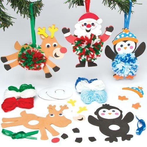 クリスマスツリー ポンポンキャラクター オーナメント キッズ手作りキット(3個入り),手作り,マスコット,