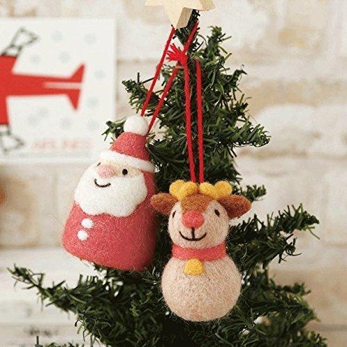 羊毛フェルトで作るころころサンタとトナカイのクリスマスオーナメント手作りキットスターターセット(針・マット)付き,手作り,マスコット,