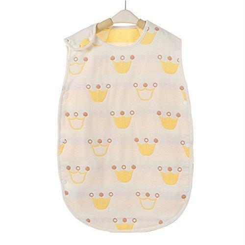 Petit Bella 6重ガーゼスリーパー パジャマ 寝袋 ベビー 赤ちゃん 子供 100%綿 オーガニックコットン ボタン開閉式 プレゼント 出産祝い(クラウン柄 イエロー S),ベビー,スリーパー,