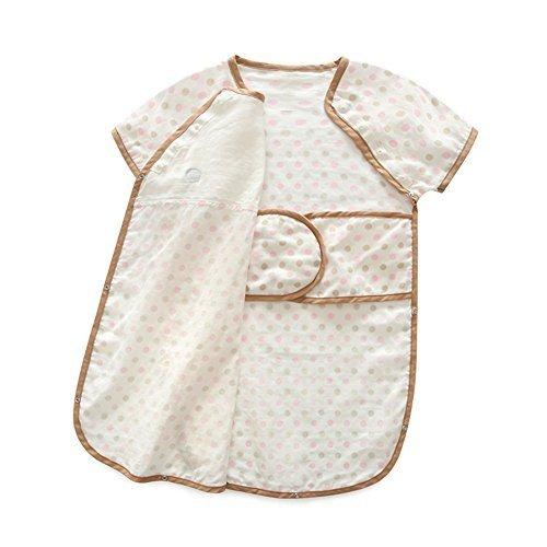 Luyusbaby 半袖水玉 ベビースリーパー夏パジャマ 寝袋 着用できる毛布 イエロードットS,ベビー,スリーパー,