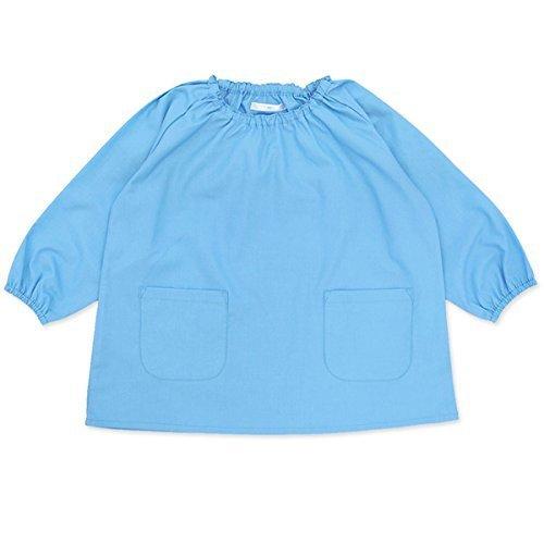 よつば洋品店オリジナル 長袖無地スモック (110/ブルー) 【QO-YY268】,スモック,作り方,