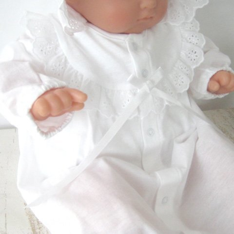 日本製 夏物素材 新生児ベビードレス お宮参り退院時におすすめ お帽子付き2点セット 36507,出産,退院,服装