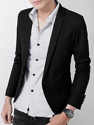 (エンジェム) angeme 大人 テーラード ジャケット 長袖 デザイナーズ シングル 1つボタン カジュアル 着回し デニム チノパン と相性抜群 M L XL XXL ブラック (04:黒 Mサイズ),出産,退院,服装