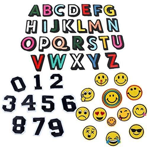 アルファベットA-Z Emoji 笑顔表情 数字 刺繍ワッペン アイロン接着 49枚セット アイロン ワッペン 刺繍 男の子 女の子 かわいい かっこいい 入園 入学 マーク 幼稚園 保育園 小学校 アップリケ ギフト イニシャル シンプル お名前 名入れ (全種類),アイロンワッペンの付け方,